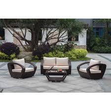 Modern Outdoor Loveseat Raki Dark Brown Wicker 4 Piece Conversation Set Outdoor