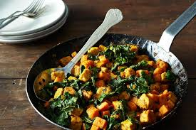 leftover sweet potato and tempeh hash with kale for the