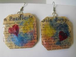 cardboard earrings cardboard earrings vintage newspaper diy crafts