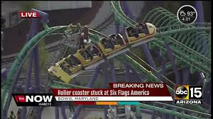 Six Flags Speed Pass Roller Coaster Stuck At Six Flags America Youtube