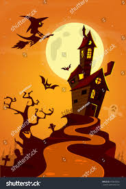 scary old ghost haunted house halloween stock vector 493640542