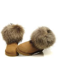 womens ugg boots fox fur ugg 5854 fox fur boots brown 110 00 ugg boots outlet