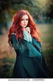 close portrait beautiful red haired stock photo 530899903