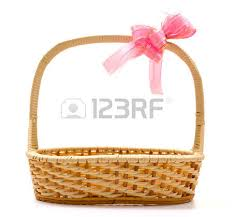 empty gift baskets bamboo basket isolated on white background decorated with