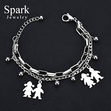s day charm bracelet spark stainless steel family charm bracelet with boy and girl