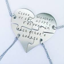 friendship heart necklace images Hand engraved heart puzzles necklaces friendship bff four 4 jpg