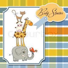 baby shower cards baby shower card with pyramid of animals stock vector