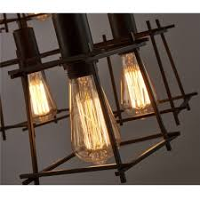 Multi Pendant Light Industrial Multi Pendant Light 12 Light With Lantern Metal Cage In