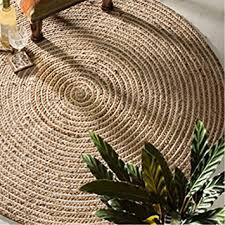 Jute Rugs Amazon Fair Trade Round Jute U0026 Cotton 100 Braided Rug 120cm Diameter