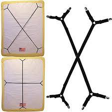 Duvet Corner Clips Kental 2pcs Sheet Bed Suspenders Adjustable Crisscross Fitted