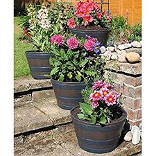 Half Barrel Planters by Set Of 4 Wooden Oak Effect Half Barrel Garden Planters Amazon Co