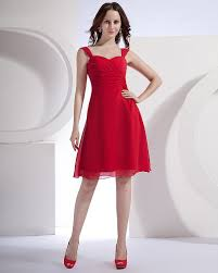 chiffon straps ruched knee length chiffon red dresses for