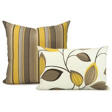 outdoor pillow cover mustard yellow brown and cream vine and
