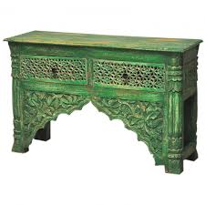 Green Console Table Carved Green Console Table With 2 Drawer