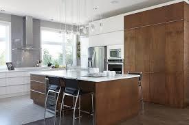 vaste et lumineuse cuisine moderne minimaliste deux tons armoires