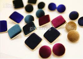 stud earrings online new fashion style pleuche velvet button earrings ear studs