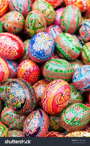 painted wooden easter eggs stack various painted wooden easter eggs stock photo 131084168