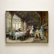handmade painting classical court gentleman eat turkey