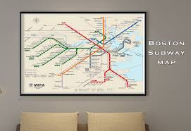 Mbta Map Subway boston subway map poster tube map map art metro map