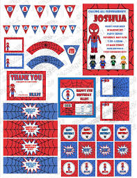 superhero spiderman birthday printable party supplies invite