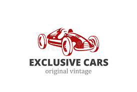 racing retro car logo abstract design vintage vehicle stock