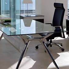 Modern Office Table With Glass Top Glass Office Desks Otbsiu Com