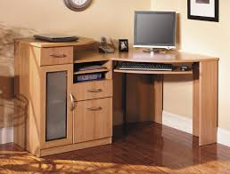 Home Office Desks Wood Wood Home Office Corner Desk With Keyboard Tray And Small Cabinet