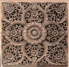 asian wood carving wall art panel wall hanging lotus wood carved