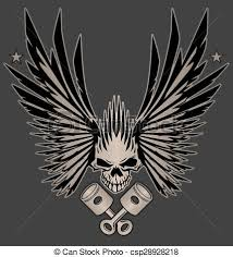 skull wings and crossed pistons awesome winged skull with