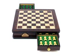 travel magnetic chess set rosewood 9