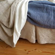 box pleated linen bed skirt stonewashed linen dust ruffle