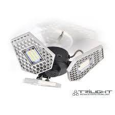 hardwired led shop lights trilight 3 light motion activated aluminum led ceiling light 00342
