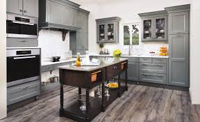 combine modern theme with antique grey kitchen cabinets