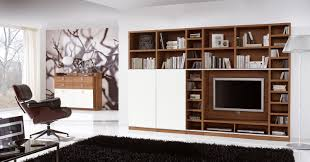 pretty living room design with wall cabinet and shelves tv