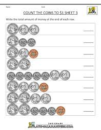 counting money worksheets up to 1