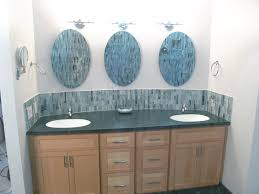 classy double sink vanities with 3 frameless oval beveled vanity
