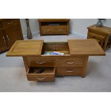 sliding top coffee table oak storage coffee table with sliding top and drawers