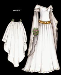 white medieval wedding gown with long sleeves and gold and silver
