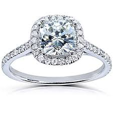 cushion engagement rings cushion cut moissanite engagement ring with diamond 1 1 3 ctw 14k