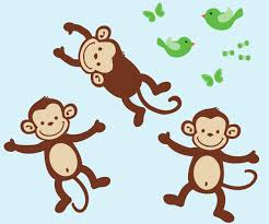 Monkey Nursery Wall Decals Monkey Wall Decals Repositionable Monkey Stickers Nursery