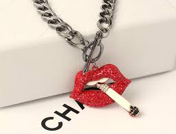 heart necklace red images European statement pendant necklaces sexy red lip smoking jpg