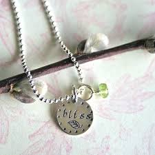 Hand Stamped Necklace Hand Stamped Silver Disc Necklace