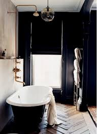 nice scandinavian bathroom design with black wall decor wooden