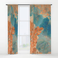 Blue And Orange Curtains Blue And Orange Autumn Leaves Window Curtains By Graphictabby