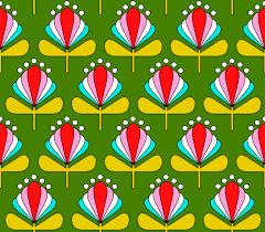 Muster Blau Grün Kinder M磴dchen Stoff Stoffdesign Illustration Retro Bl禺mchen