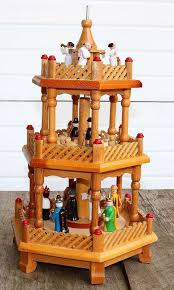 wooden german pyramid nativity 3 tier candle