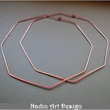 ear hoops octagon hoops geometric ear wires copper earrings