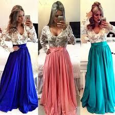 2017 lace long sleeves prom dresses v neck sheer open back beaded