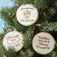 these diy embroidered ornaments will add personality to your tree