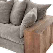 Rustic Wooden Couch Wright Rustic Lodge Wood Block Stonewash Grey Taupe Jute Sofa